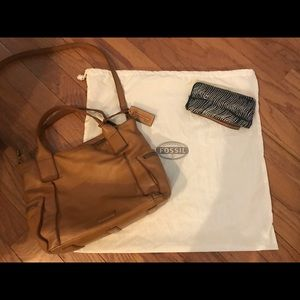 Fossil Emerson Satchel and Zip Wallet-EUC